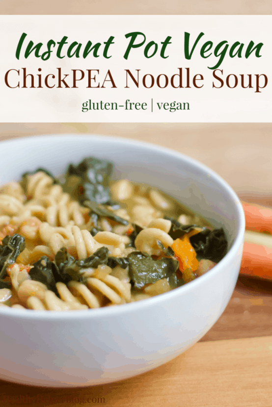 Instant Pot Vegan ChickPEA Noodle Soup   Healthy Helper @Healthy_Helper Hearty and healthy, this Vegan ChickPEA Noodle Soup will be your new favorite plant-based alternative to traditional chicken noodle soup! Full of vegetables, plant-based protein, and whole grains, this soup will fill you up, keep you satisfied, and nourish your body all in one bowl. Gluten-free, low-fat, and super easy to make in the Instant Pot!