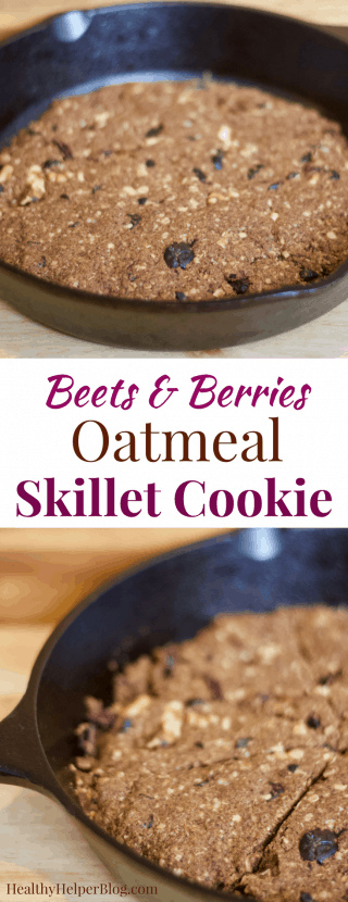 Beets & Berries Oatmeal Skillet Cookie | Healthy Helper @Healthy_Helper Fruity, sweet, and chockfull of nuts! This Beets & Berries Oatmeal Skillet Cookie is a healthy spin on a classic oatmeal raisin cookie jazzed up with superfoods. Vegan, gluten-free, and fruit-sweetened, this delicious, wholesome dessert is perfect for pairing with your favorite ice cream!