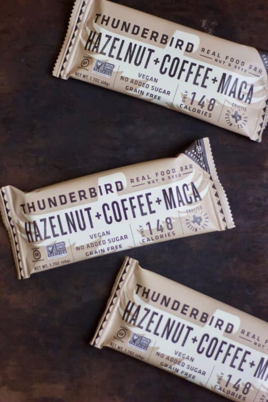 Copycat Hazelnut Coffee Maca Thunderbird Bars | Healthy Helper @Healthy_Helper Aromatic coffee combines with rich chocolate, hazelnuts, and superfood maca for the ultimate energy bar! Raw, vegan, gluten-free, and no added sugar, these copycat bars taste just like your favorite Thunderbird bar.
