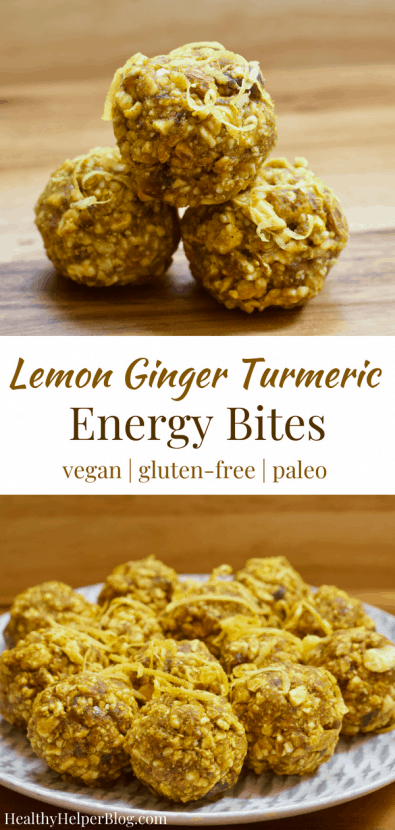 Lemon Ginger Turmeric Energy Bites | Healthy Helper Sweetly spiced raw energy bites with the fresh flavor of lemon and the inflammation fighting power of turmeric. Vegan, gluten-free, and so easy to make, these bites will be your new favorite way to fuel your day.