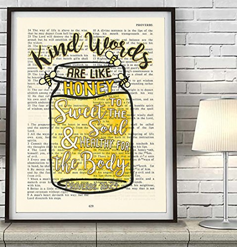 Vintage Bible verse scripture – Kind Words are Like Honey – Proverbs ...