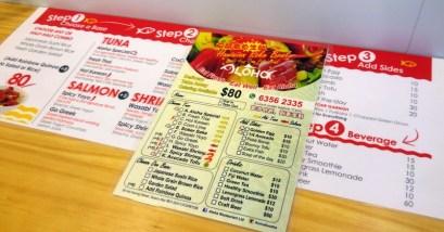 Aloha's menu