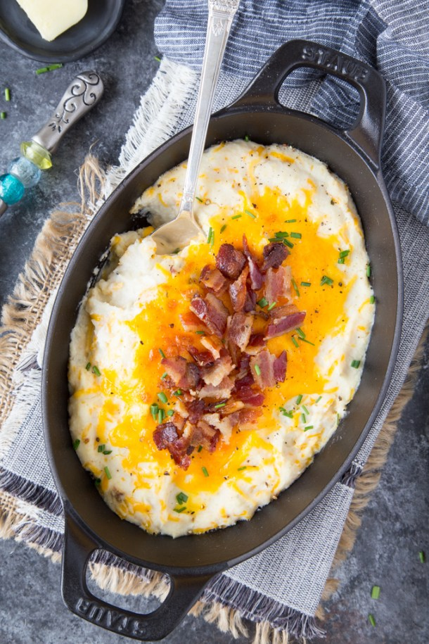 "Instant Pot  Cauliflower Mashed ""Potatoes"" {Low Carb, Keto}"