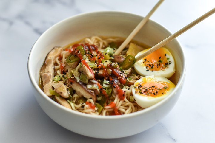 bowl of ramen noodles with toppings