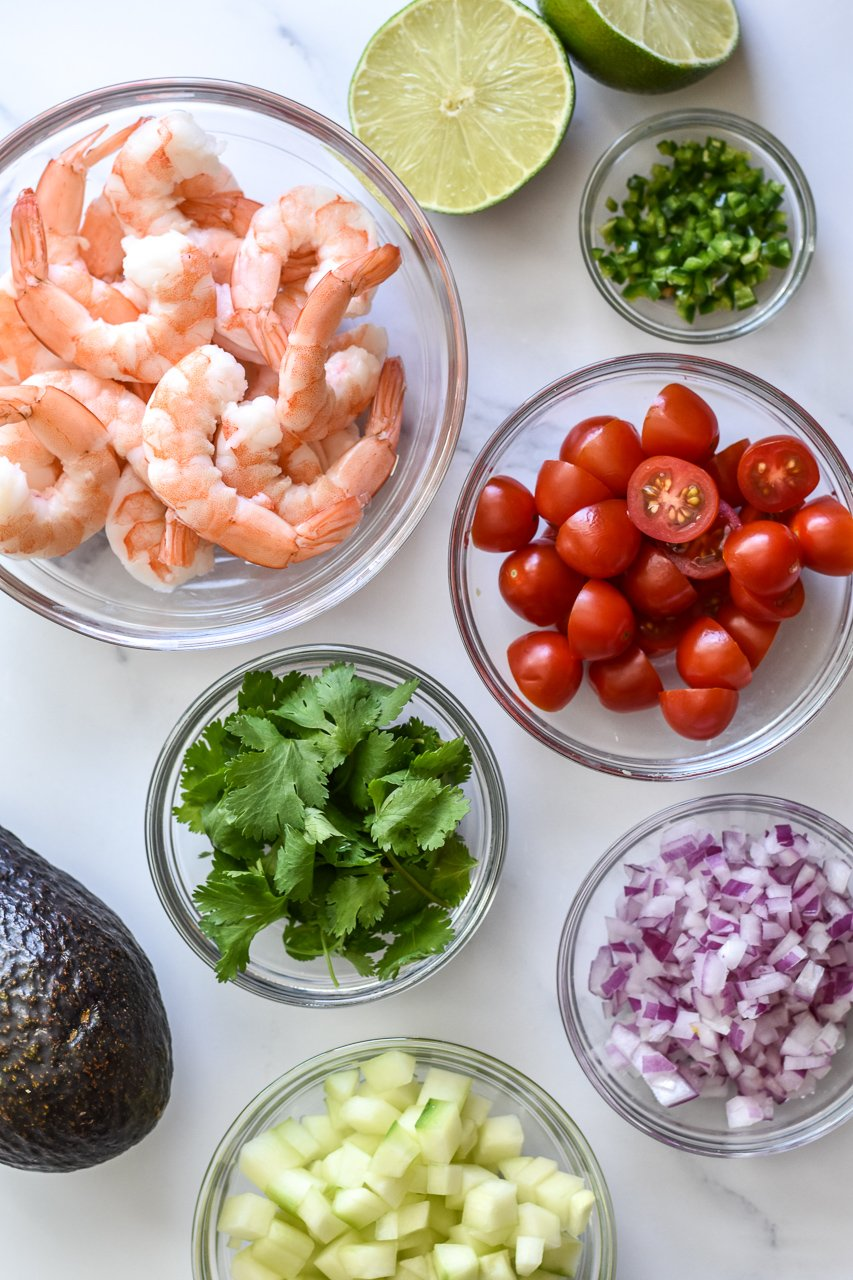 ingredients for shrimp ceviche with avocado