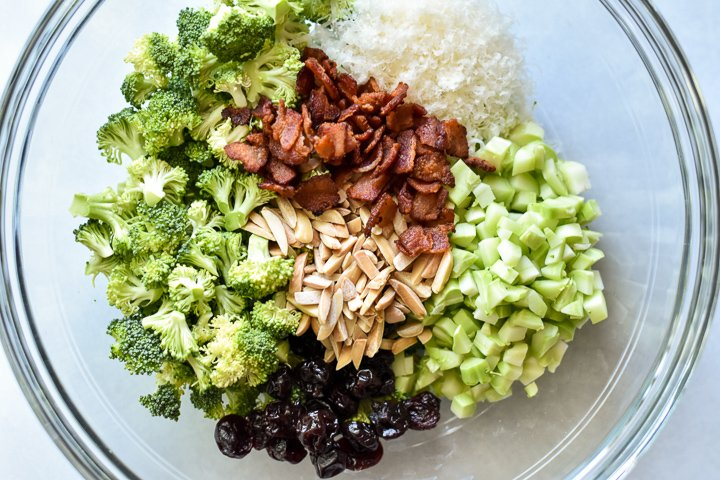 ingredients for broccoli crunch salad in a bowl