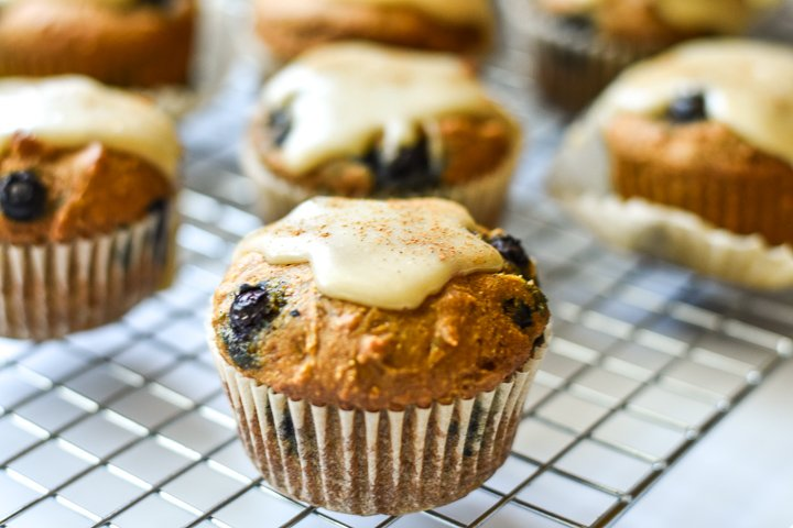 pumpkin muffins with tahini glaze from the side