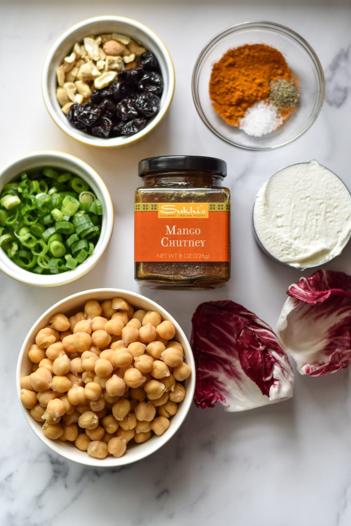 ingredients for curried chickpea cups