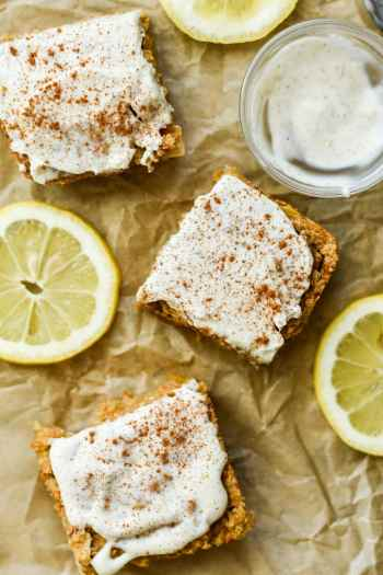 Carrot Cake Oatmeal Bars with Lemony Cream Cheese Frosting