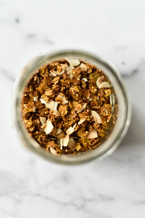 overhead view of a jar of nut free granola