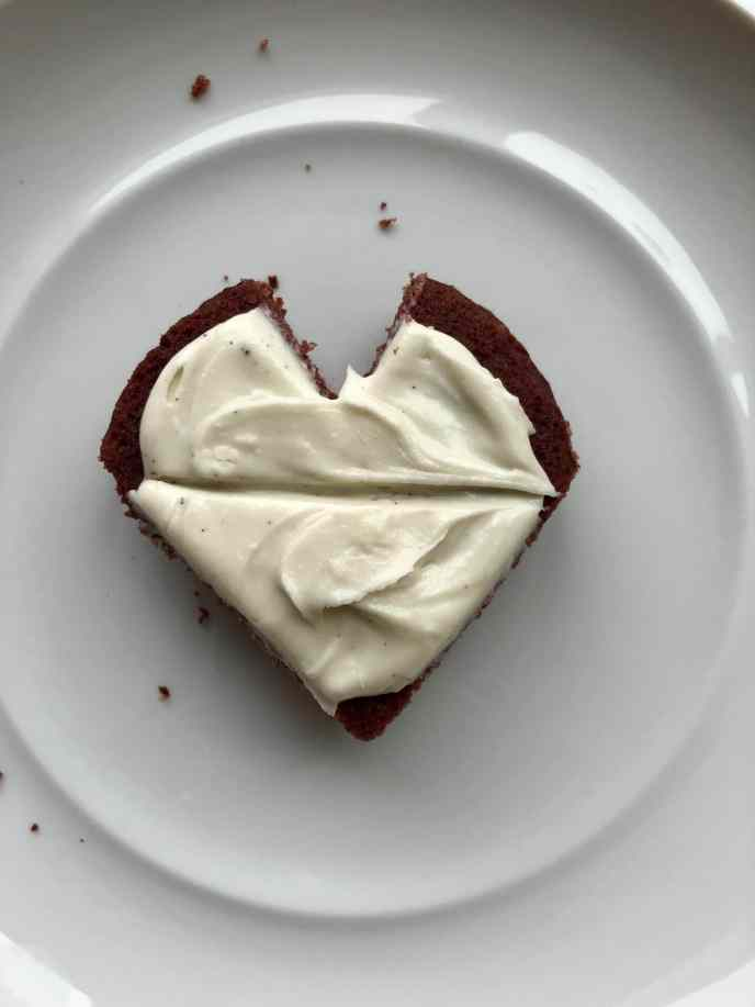 Layered mini-heart cakes for Valentine's Day