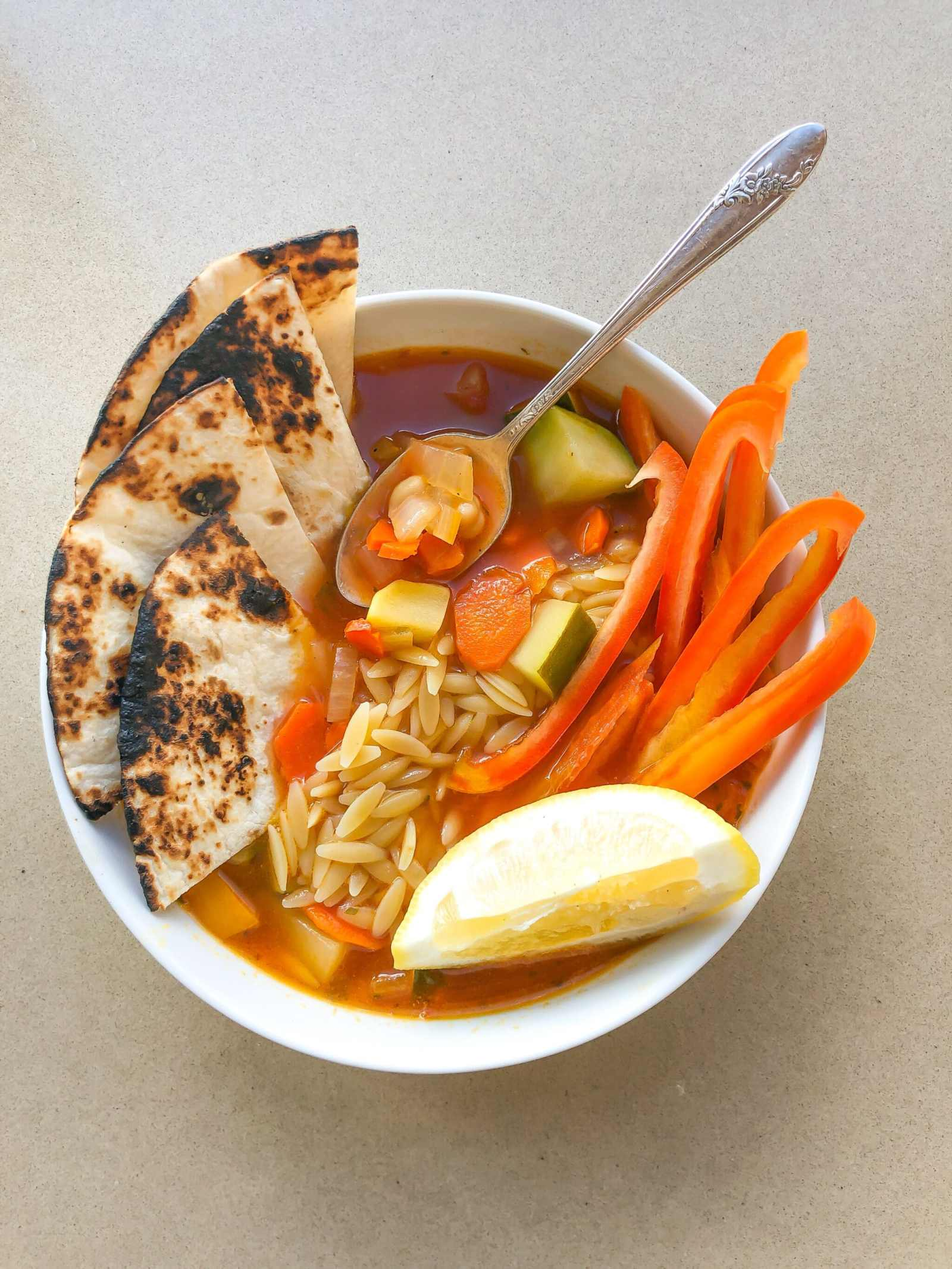 Healthyish Veggie Soup with Orzo Pasta