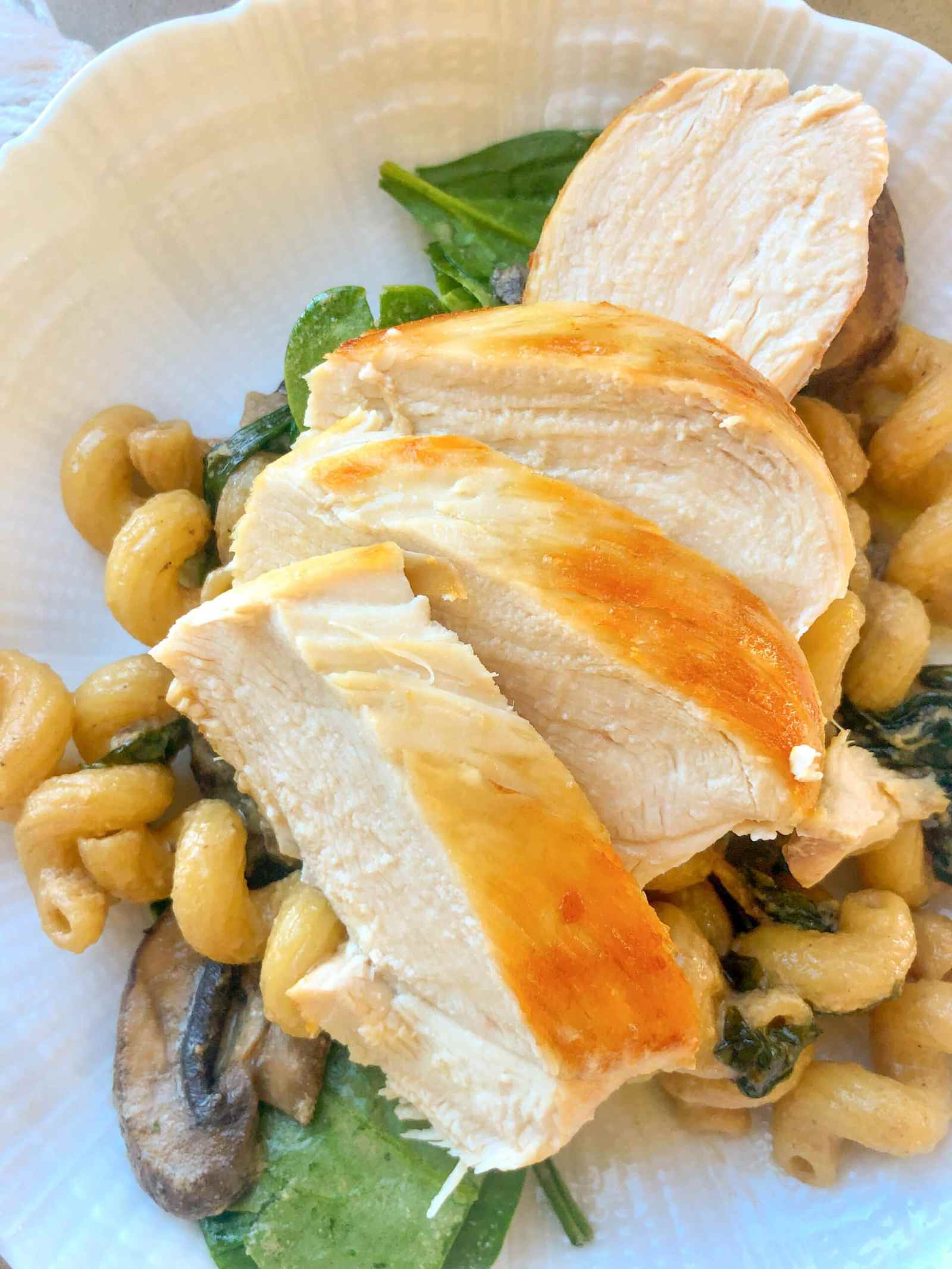 Dijon Lemon Cavatappi with Pan Roasted Chicken Breast