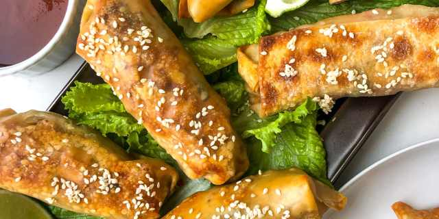 Baked BBQ Tofu & Vegetable Egg Rolls, Healthyish