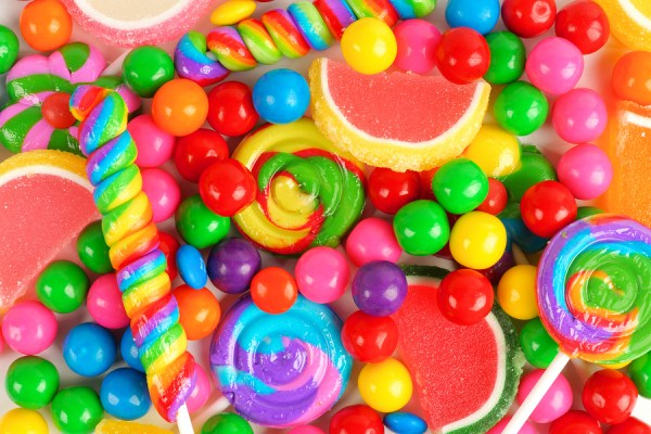 Colorful background of assorted candies