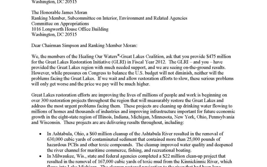 Coalition and Others to Appropriators Regarding the Great Lakes Restoration Initiatives