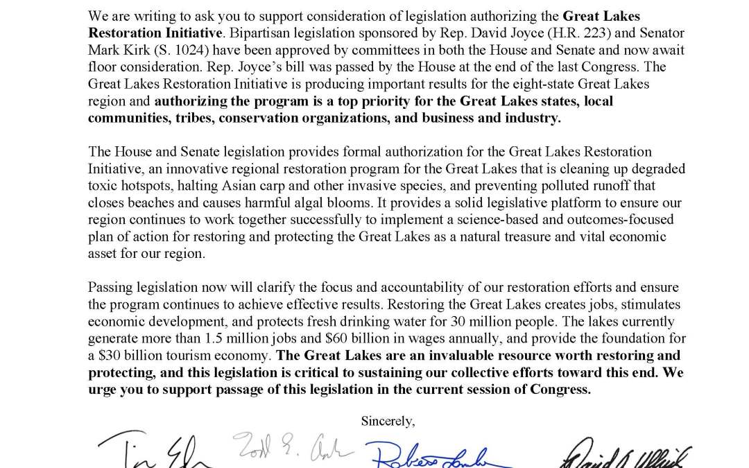 Coalition and Others to House and Senate Leadership Regarding the Great Lakes Restoration Initiative