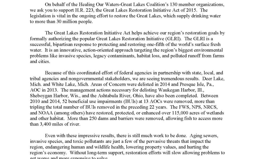 Coalition Governance Board to Representatives Regarding the Great Lakes Restoration Initiative Act of 2015