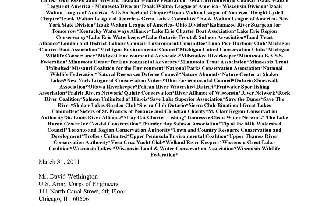 Coalition Comments to the U.S. Army Corps of Engineers Regarding the Great Lakes and Mississippi River Interbasin Study
