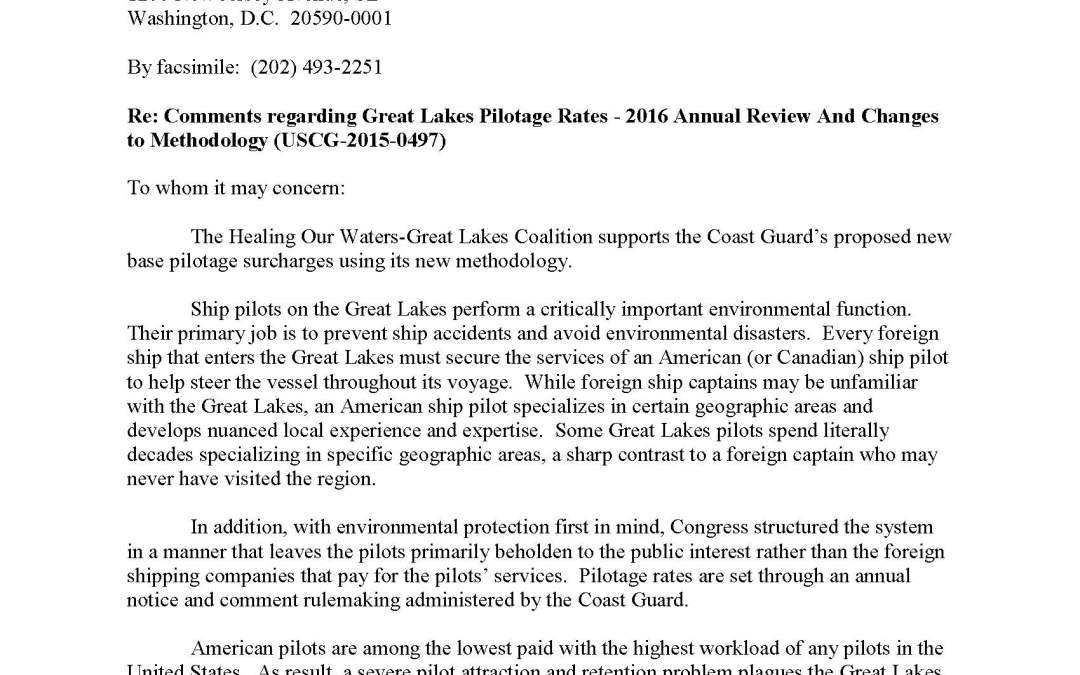 Coalition Comments to the U.S Department of Transportation Regarding the Great Lakes Pilotage Rates