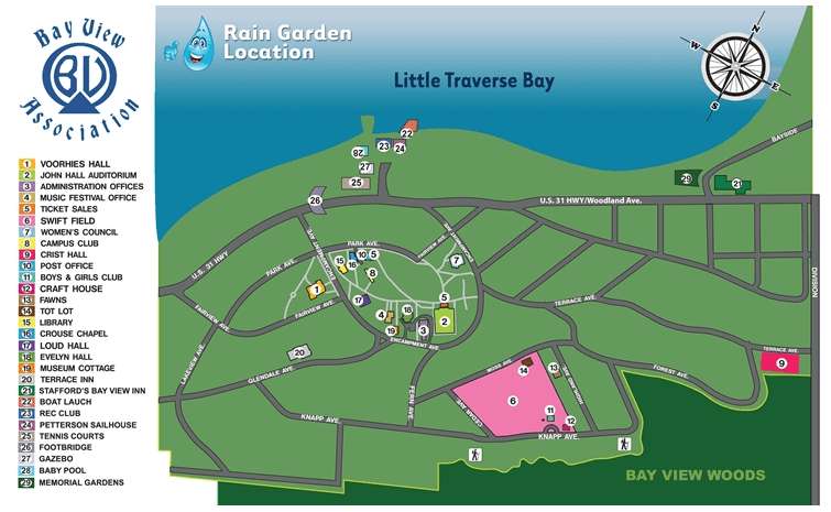 Map of rain gardens installed in Bay View, Michigan