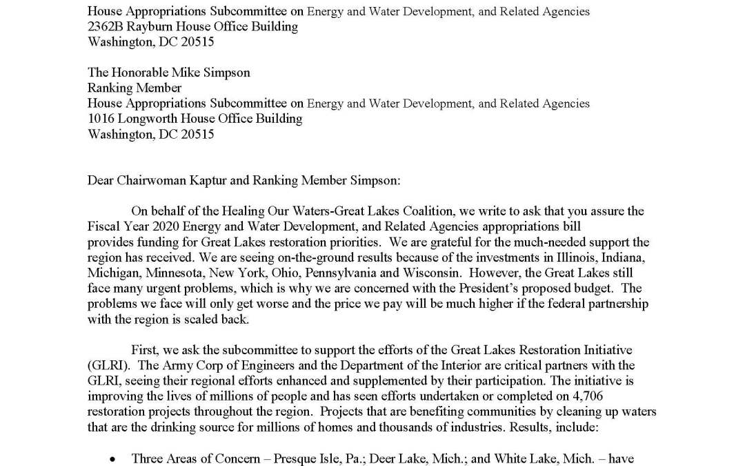 Coalition to House Appropriators Regarding Energy, Water, and Related Agencies Budget