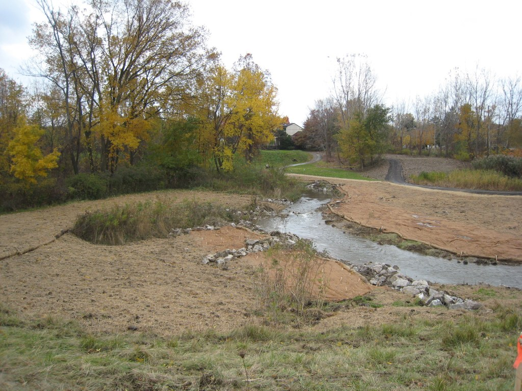 Creek with grasses planted around it.