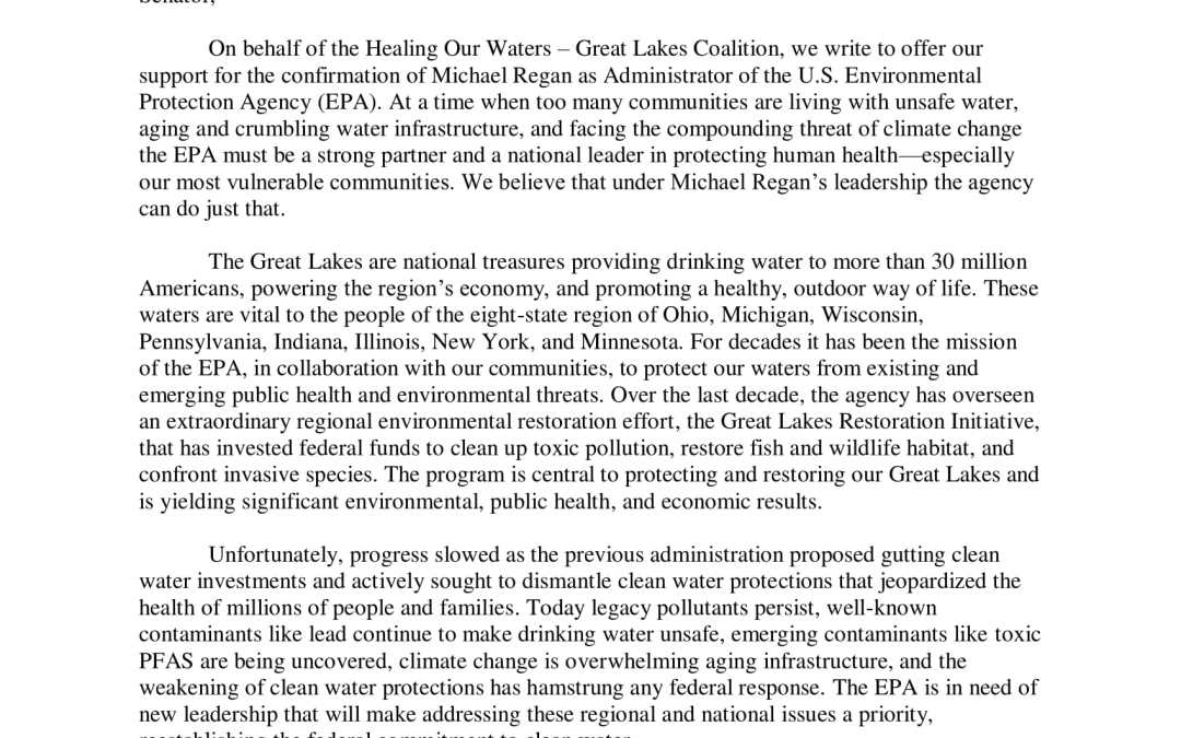 Great Lakes Groups Support Michael Regan as EPA Administrator