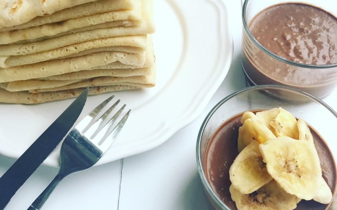 Deux recettes sucrées : Crêpes et Mousse au chocolat (healthy)