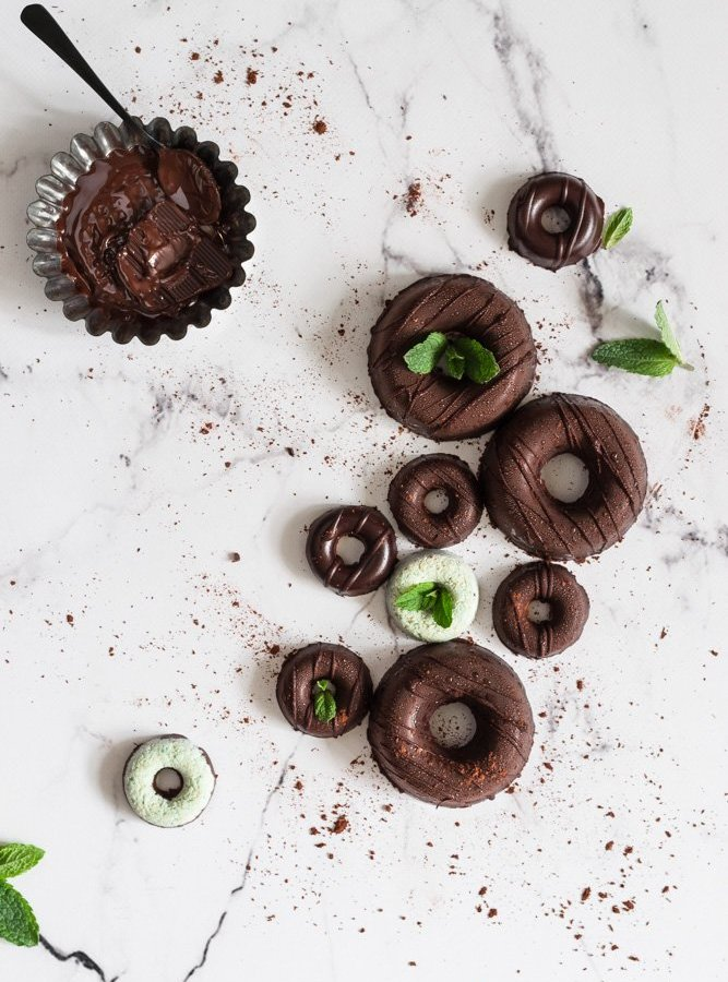 NO BAKE CHOCOLATE COCONUT DONUTS / WITH MINT EXTRACT