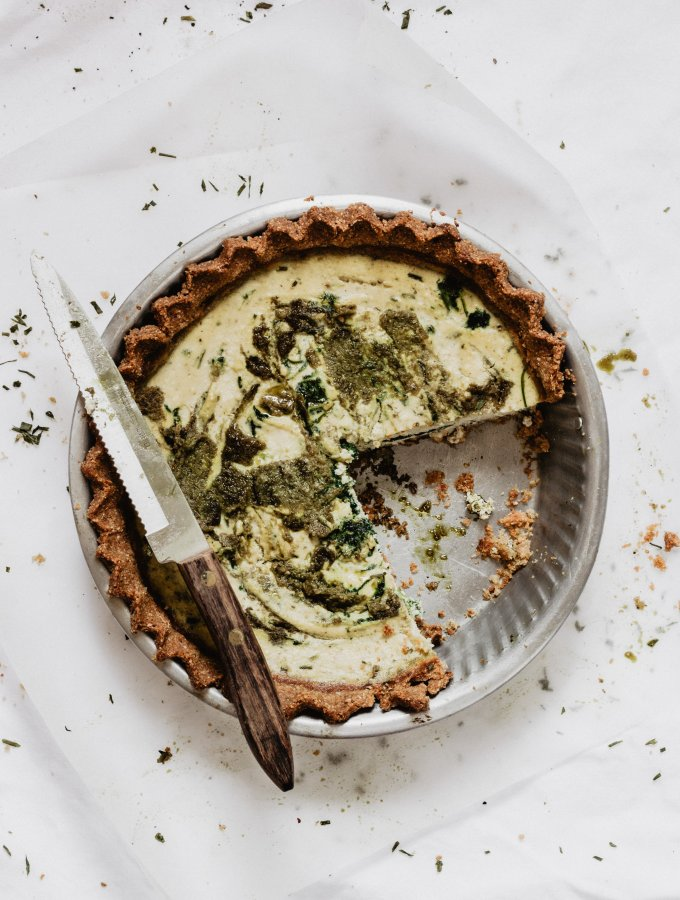 SPINACH RICOTTA QUICHE WITH PESTO / HEALTHY AND EASY