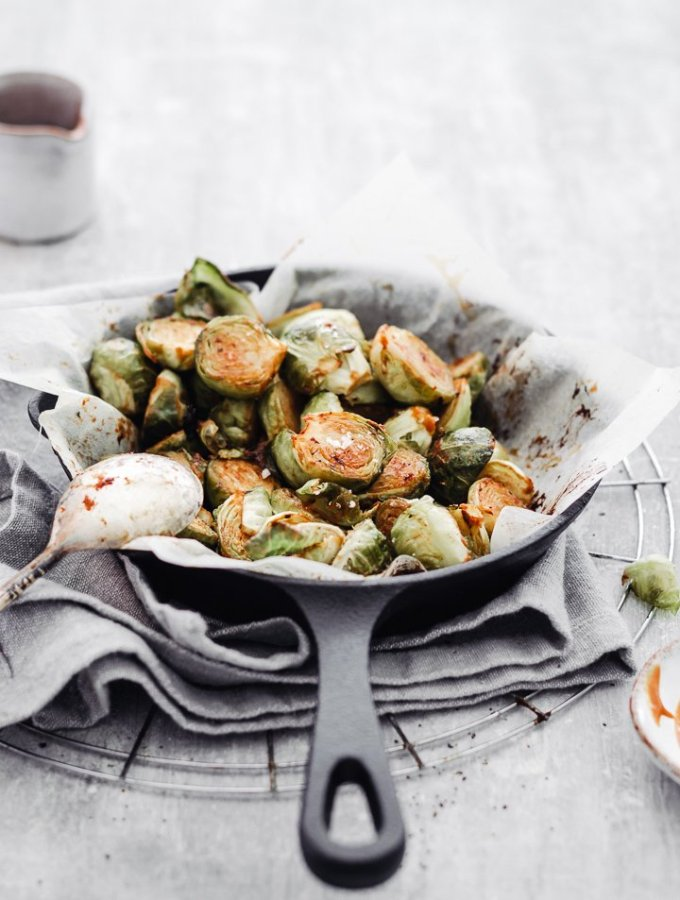 OVEN ROASTED BRUSSELS SPROUTS WITH EASY MUSTARD DRESSING