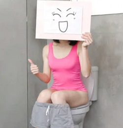 Lady on toilet
