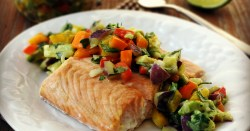 Oven Baked Salmon with Bell Pepper Salsa