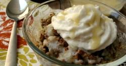 Rhubarb Bread Pudding with Warm Vanilla Sauce