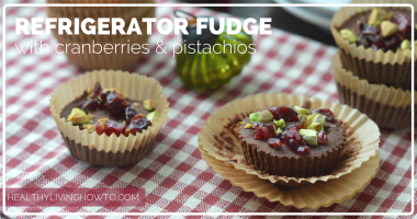 Healthy Refrigerator Fudge with Cranberries & Pistachios