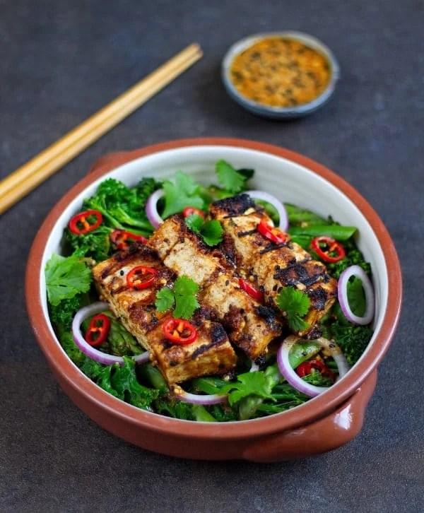 crispy satay tofu salad front