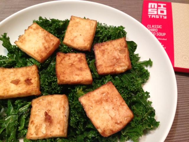 tofu and miso kale salad