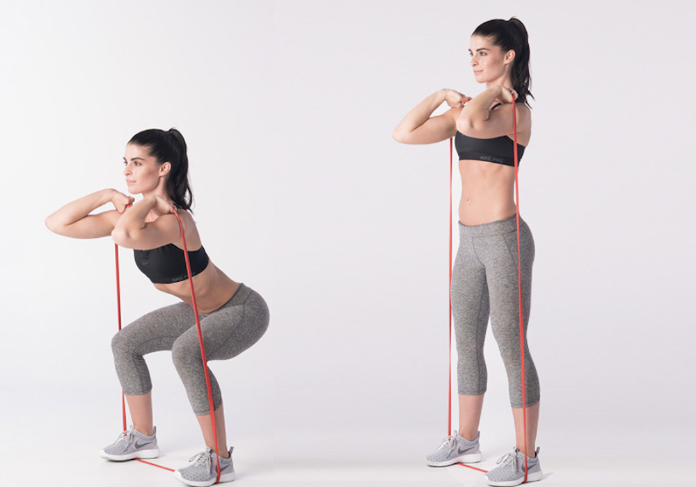 Powerband full body workout - squat stand