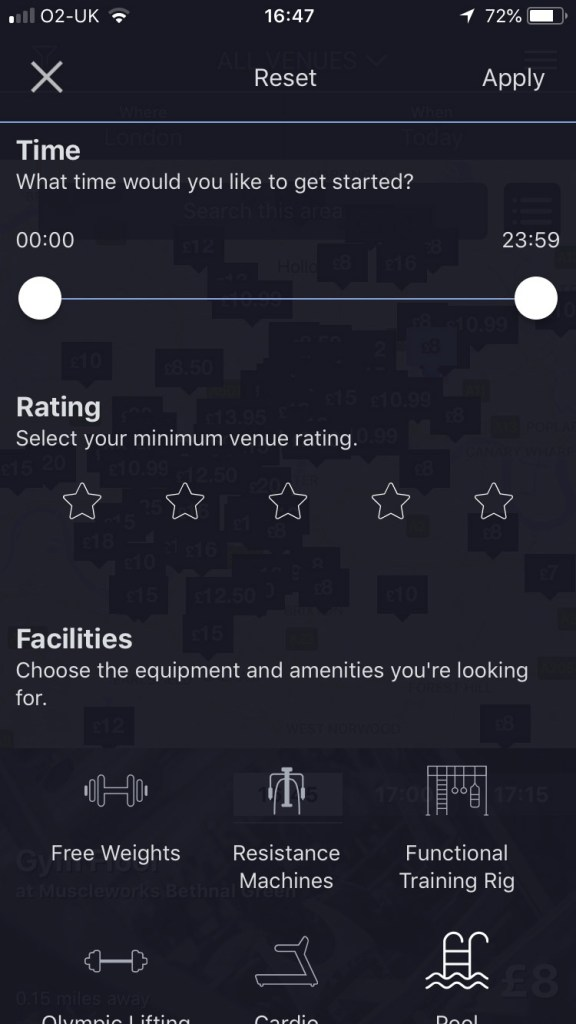 esquared fitness on demand review - app screenshots