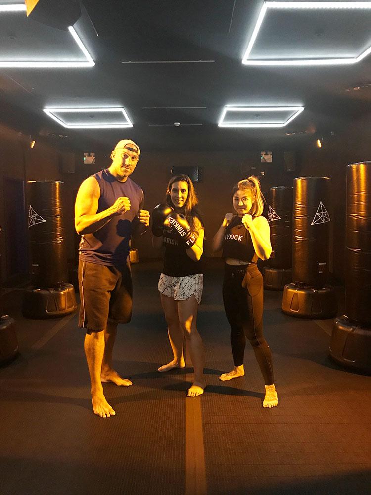 Flykick Kickboxing review - Tony, Amanda and Eliza Flynn