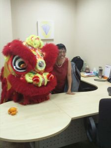 Celebrating Chinese New Year 2016 in her office