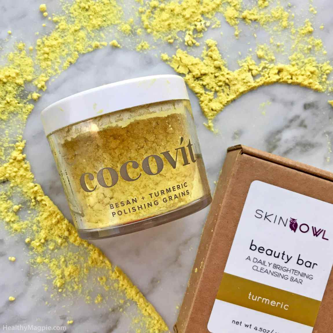 Review and pictures of Cocovit besan and turmeric polishing grains exfoliator and Skin Owl brightening turmeric beauty bar