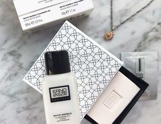 Picture and reviews of Erno Laszlo White Marble Brightening Double Cleanse travel set with white marble cleansing oil and white marble treatment bar from Sephora