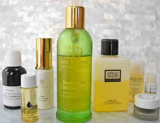 Picture and reviews of cleansing oils: Tatcha Camellia Cleansing Oil, Tata Harper Nourishing Oil Cleanser, Josie Maran argan oil cleanser, Erno Laszlo phelityl oil and more.