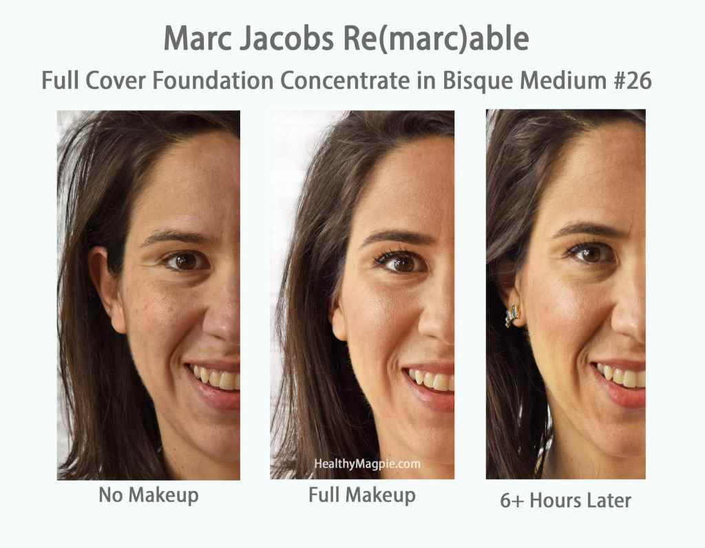 Picture of the Marc Jacobs remarcable full cover foundation concentrate I wear in Bisque Medium #26. It lasts all day and is great melasma makeup - covering my dark spots and melasma mustache / upper lip melasma and vitiligo.