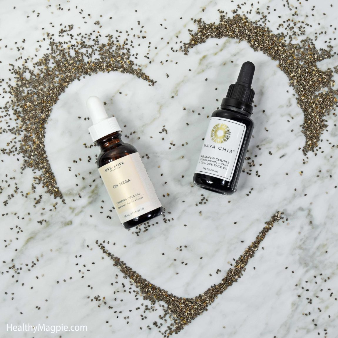Picture and reviews of Maya Chia The Super Couple Astaxanthin + Chia Luxe Face Oil and One Love Organics Oh Mega Calming Chia Seed Face Oil