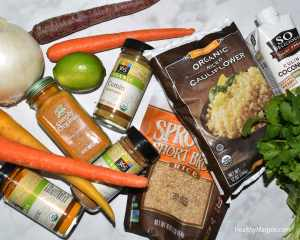 Picture of ingredients for my gluten-free organic version of Mendocino Farms Curried Couscous. I also add more vegetables than they have. The lime isn't really necessary.