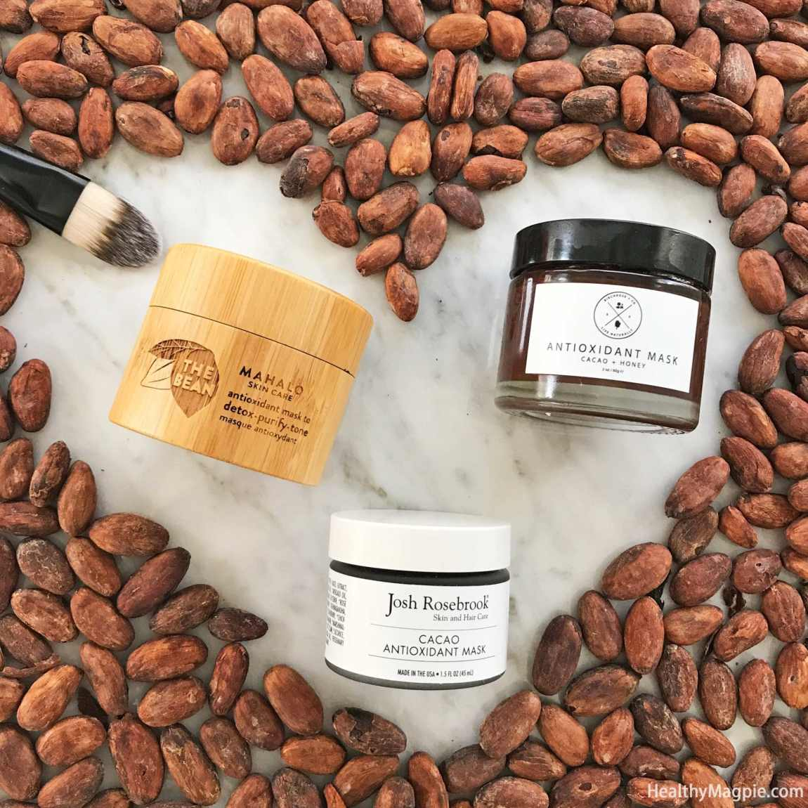 Pictures and reviews of organic Cacao Antioxidant Face Masks from Mahalo, Josh Rosebrook and Birchrose Co. I think all of these can help with my dark spots, melasma and hyperpigmentation on my face and upper lip.