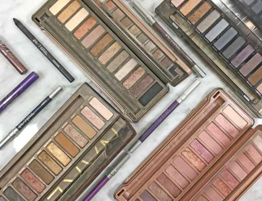 Pictures of my cruelty-free Urban Decay Naked eyeshadow palettes and 24/7 glide-on eyeshadow sticks and eyeliners.